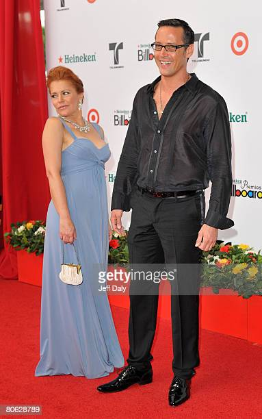 Actress Alicia Plaza and actor Andres Garcia Jr attend the 2008 Billboard Latin Music Awards at the Seminole Hard Rock Hotel and Casino on April 10...