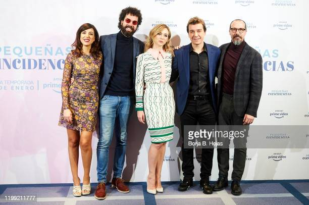 Actress Alicia Rubio actor Juan Ibañez actress Marta Hazas actor Javier Veiga and actor Fele Martinez attend to photocall of 'Pequeñas Coincidencias'...