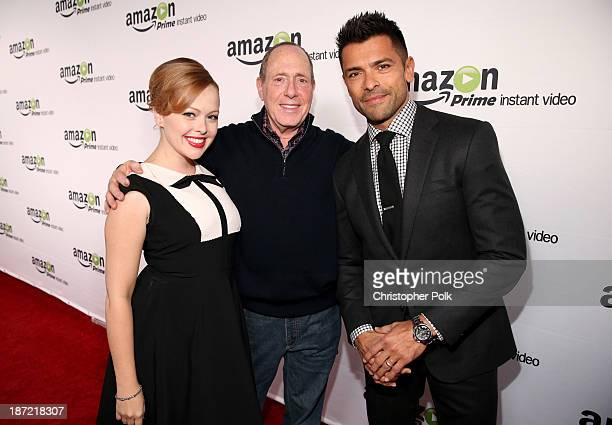 Actress Alicia Sable producer Elliot Webb and actor Mark Consuelos attend the Amazon Studios Launch Party to celebrate the premieres of their 1st...