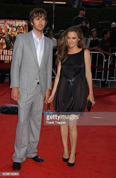 Actress Alicia Silverstone and husband actor Christopher Jarecki arrive at the premiere of 'Tropic Thunder' held at Mann Village Theater in Westwood