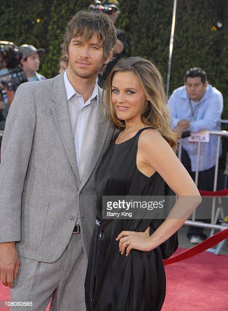 Actress Alicia Silverstone and husband Christopher Jarecki arrives at the Los Angeles Premiere of 'Tropic Thunder' at the Mann's Village Theater on...