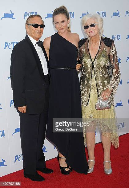 Actress Alicia Silverstone and parents Monty Silverstone and Didi Silverstone arrive at PETA's 35th Anniversary Party at Hollywood Palladium on...