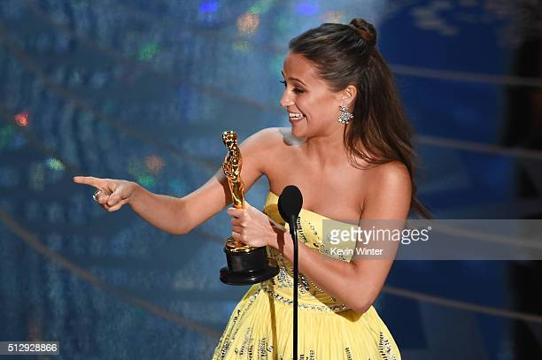 Actress Alicia Vikander accepts the Best Supporting Actress award for 'The Danish Girl' onstage during the 88th Annual Academy Awards at the Dolby...