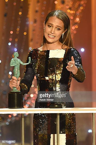 Actress Alicia Vikander accepts the Female Actor in a Supporting Role award for 'The Danish Girl' onstage during The 22nd Annual Screen Actors Guild...