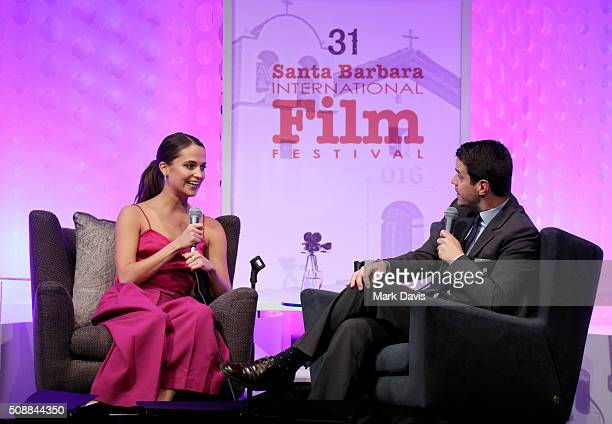 Actress Alicia Vikander and Moderator Dave Karger speak at the Virtuosos Award at the Arlington Theater at the 31th Santa Barbara International Film...