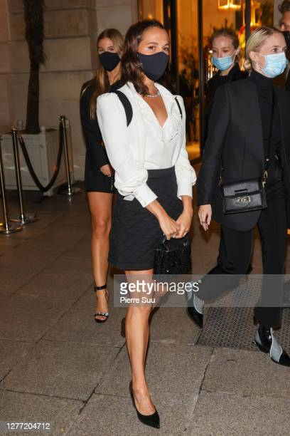 Actress Alicia Vikander arrives at a Vuitton dinner party on September 28 2020 in Paris France