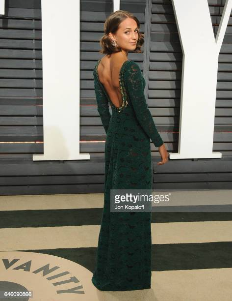 Actress Alicia Vikander arrives at the 2017 Vanity Fair Oscar Party Hosted By Graydon Carter at Wallis Annenberg Center for the Performing Arts on...