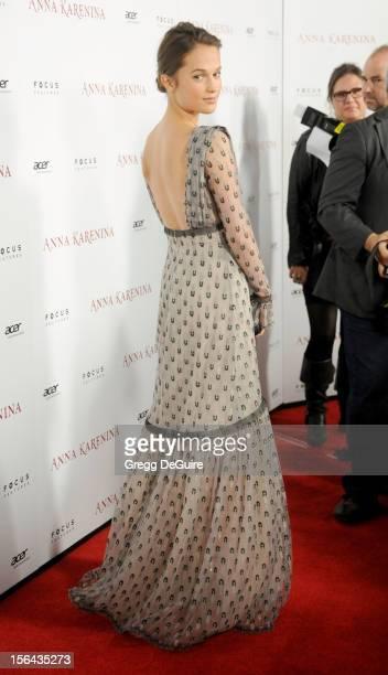 Actress Alicia Vikander arrives at the Los Angeles premiere of Anna Karenina at ArcLight Hollywood on November 14 2012 in Hollywood California