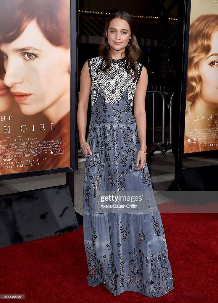 Actress Alicia Vikander arrives at the premiere of Focus Features' 'The Danish Girl' at Westwood Village Theatre on November 21, 2015 in Westwood, California.