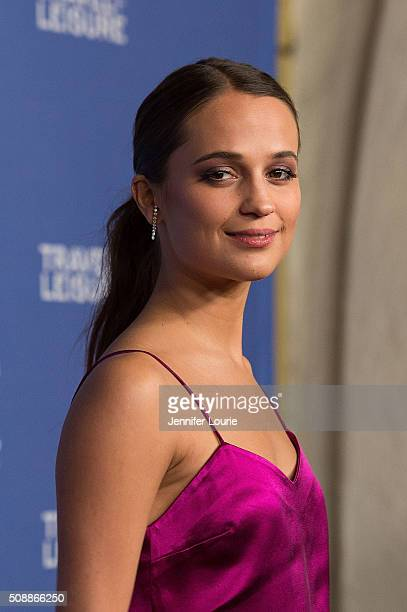 Actress Alicia Vikander arrives for the presentation of the Virtuoso's Award for The 31st Santa Barbara International Film Festival at the Arlington...