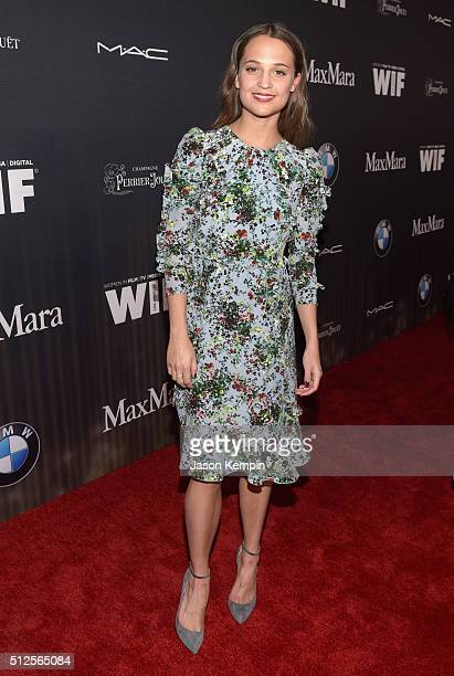 Actress Alicia Vikander attends Ninth Annual Women In Film PreOscar Cocktail Party presented by Max Mara BMW MAC Cosmetics and PerrierJouet at Hyde...