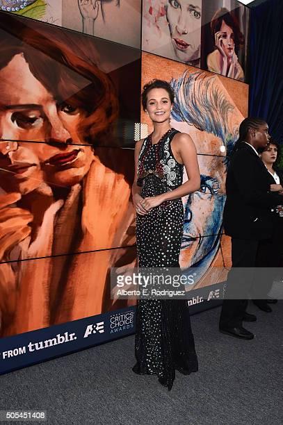 Actress Alicia Vikander attends the 21st Annual Critics' Choice Awards at Barker Hangar on January 17 2016 in Santa Monica California