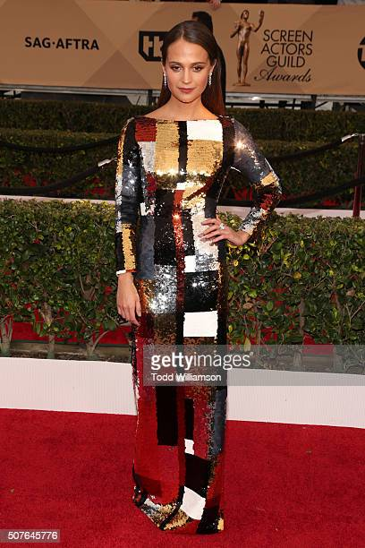 Actress Alicia Vikander attends the 22nd Annual Screen Actors Guild Awards at The Shrine Auditorium on January 30, 2016 in Los Angeles, California.