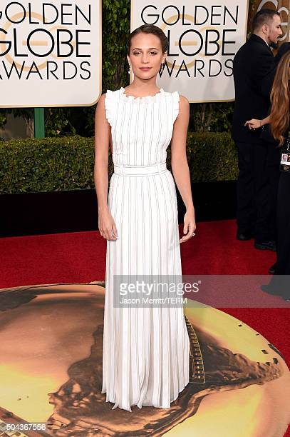 Actress Alicia Vikander attends the 73rd Annual Golden Globe Awards held at the Beverly Hilton Hotel on January 10 2016 in Beverly Hills California