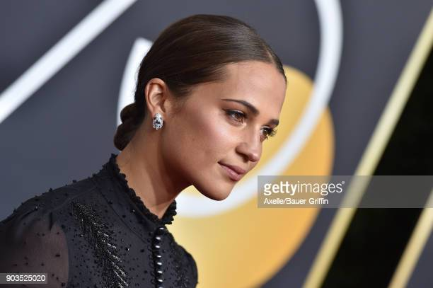Actress Alicia Vikander attends the 75th Annual Golden Globe Awards at The Beverly Hilton Hotel on January 7 2018 in Beverly Hills California