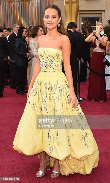 Actress Alicia Vikander attends the 88th Annual Academy Awards at the Hollywood Highland Center on February 28 2016 in Hollywood California