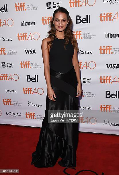 Actress Alicia Vikander attends The Danish Girl premiere during the 2015 Toronto International Film Festival at the Princess of Wales Theatre on...