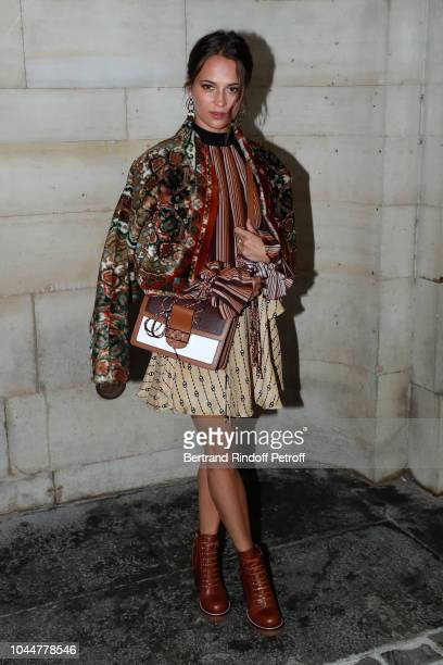 Actress Alicia Vikander attends the Louis Vuitton show as part of the Paris Fashion Week Womenswear Spring/Summer 2019 on October 2 2018 in Paris...