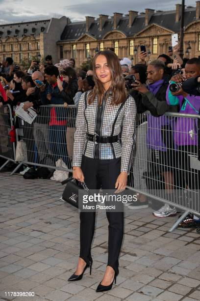 Actress Alicia Vikander attends the Louis Vuitton Womenswear Spring/Summer 2020 show as part of Paris Fashion Week on October 01 2019 in Paris France