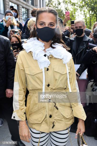 Actress Alicia Vikander attends the Louis Vuitton Womenswear Spring/Summer 2021 show as part of Paris Fashion Week on October 06 2020 in Paris France