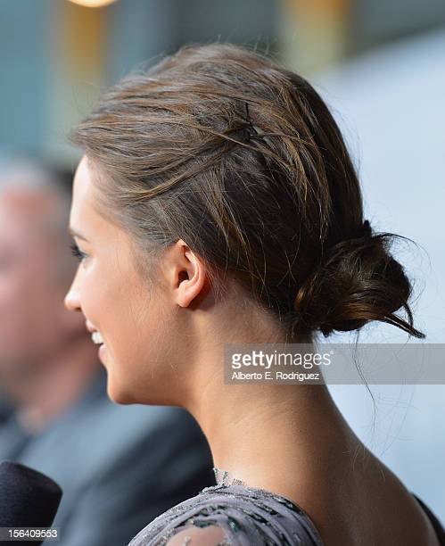Actress Alicia Vikander attends the premiere of Focus Features' 'Anna Karenina' held at ArcLight Cinemas on November 14 2012 in Hollywood California