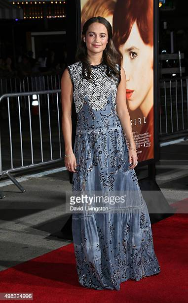Actress Alicia Vikander attends the premiere of Focus Features' The Danish Girl at the Regency Village Theatre on November 21 2015 in Westwood...