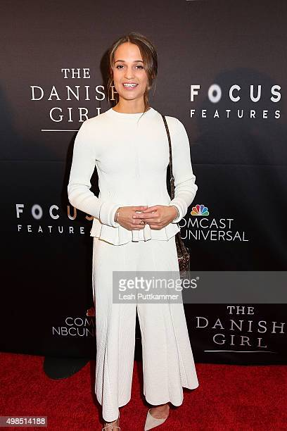 Actress Alicia Vikander attends the premiere of 'The Danish Girl' commemorating the Annual Transgender Day of Remembrance at United States Navy...