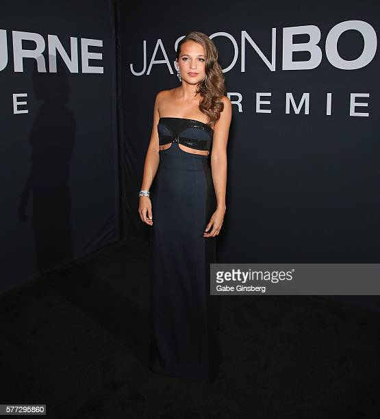 Actress Alicia Vikander attends the premiere of Universal Pictures' Jason Bourne at The Colosseum at Caesars Palace on July 18 2016 in Las Vegas...