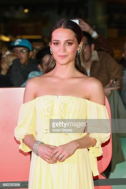 Actress Alicia Vikander attends the Tomb Raider Mexico City Premiere at Oasis Coyoacan on March 10 2018 in Mexico City Mexico
