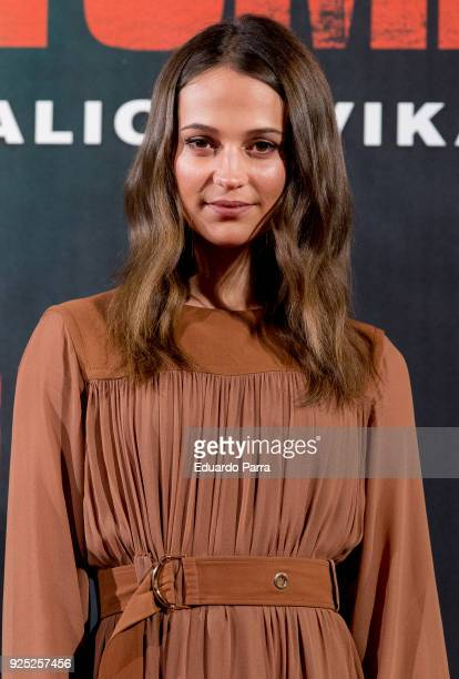 Actress Alicia Vikander attends the 'Tomb Raider' photocall at Santo Mauro hotel on February 28 2018 in Madrid Spain