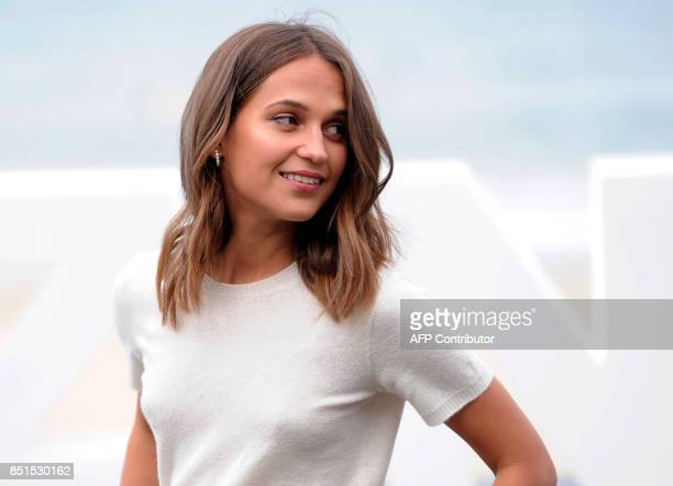 Actress Alicia Vikander from Sweden poses to promote her film Submergence during the 65th San Sebastian Film Festival in the northern Spanish Basque...