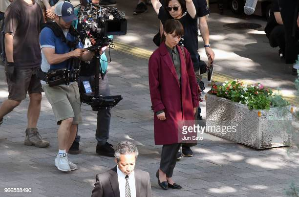 Actress Alicia Vikander is seen 'The Earthquake Bird' filming on June 3 2018 in Tokyo Japan
