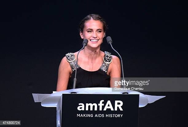 Actress Alicia Vikander onstage during amfAR's 22nd Cinema Against AIDS Gala Presented By Bold Films And Harry Winston at Hotel du CapEdenRoc on May...