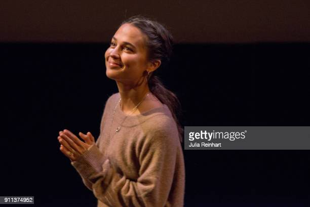 Actress Alicia Vikander participates in a masterclass following the screening of her film Euphoria at Stora Teatern during the Gothenburg Film...