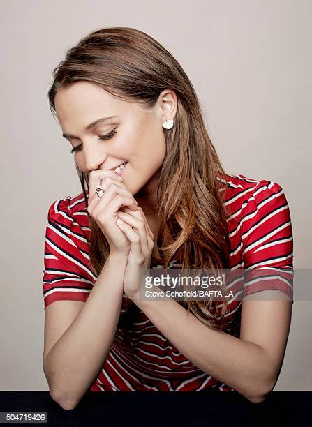 Actress Alicia Vikander poses for a portrait at the BAFTA Los Angeles Awards Season Tea at the Four Seasons Hotel on January 9 2016 in Los Angeles...