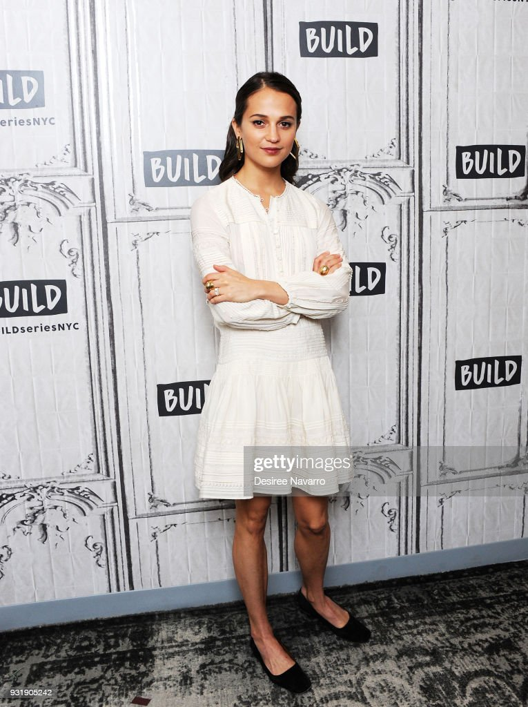 Actress Alicia Vikander visits Build Series to discuss the film 'Tomb Raider' at Build Studio on March 14, 2018 in New York City.