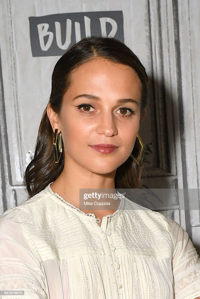 Actress Alicia Vikander visits the Build Studio on March 14, 2018 in New York City.