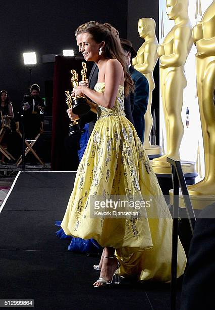Actress Alicia Vikander winner of Best Supporting Actress for 'The Danish Gil' poses in the press room during the 88th Annual Academy Awards at Loews...