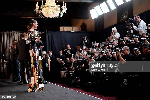 Actress Alicia Vikander, winner of the award for Outstanding Performance By a Female Actor in a Supporting Role for 'The Danish Girl', speaks...