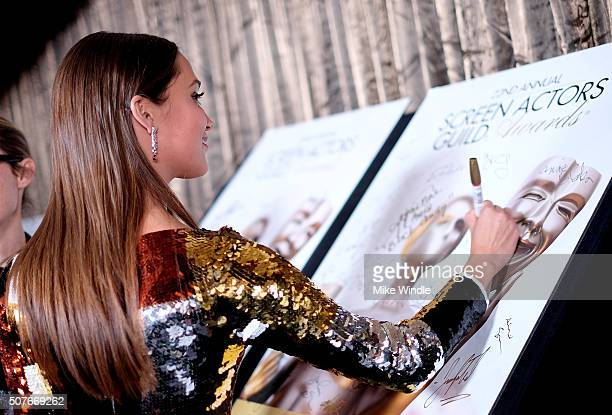 Actress Alicia Vikander winner of the award for Outstanding Performance By a Female Actor in a Supporting Role for 'The Danish Girl' poses in the...