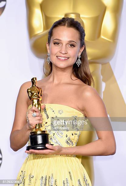 Actress Alicia Vikander winner of the Best Actress in a Supporting Role award for The Danish Girl poses in the press room during the 88th Annual...