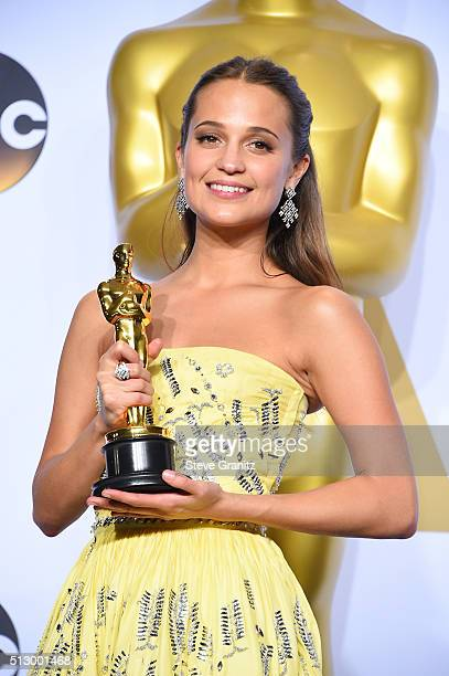 Actress Alicia Vikander winner of the Best Actress in a Supporting Role award for 'The Danish Girl' poses in the press room during the 88th Annual...