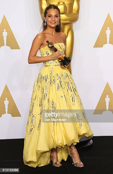 Actress Alicia Vikander winner of the Best Actress In A Supporting Role award for 'The Danish Girl' poses in the press room at the 88th Annual...