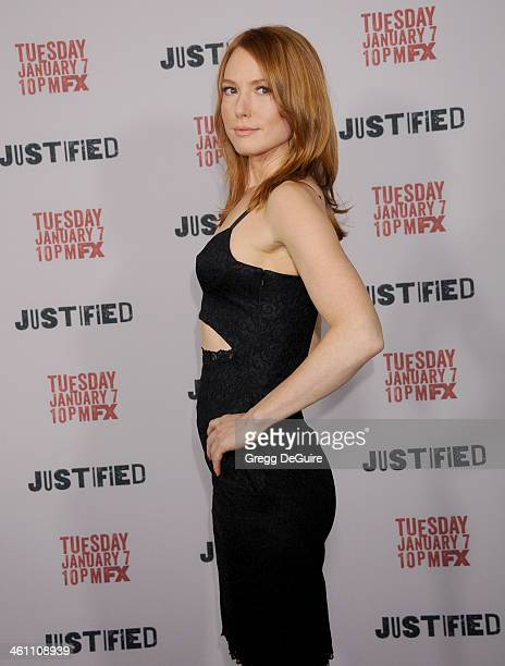 Actress Alicia Witt arrives at the Los Angeles premiere of FX 'Justified' at DGA Theater on January 6 2014 in Los Angeles California