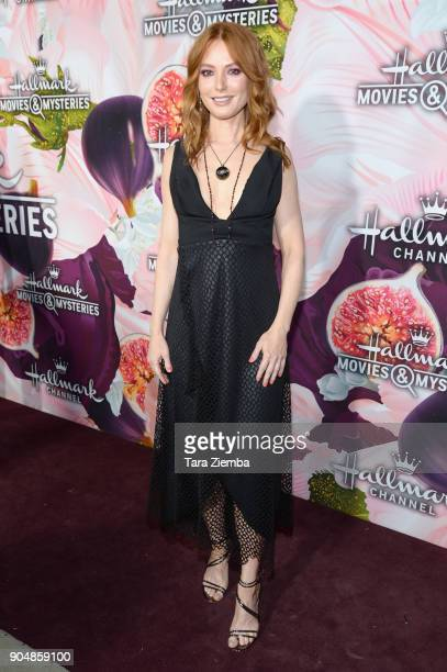 Actress Alicia Witt attends Hallmark Channel and Hallmark Movies and Mysteries Winter 2018 TCA Press Tour at Tournament House on January 13 2018 in...