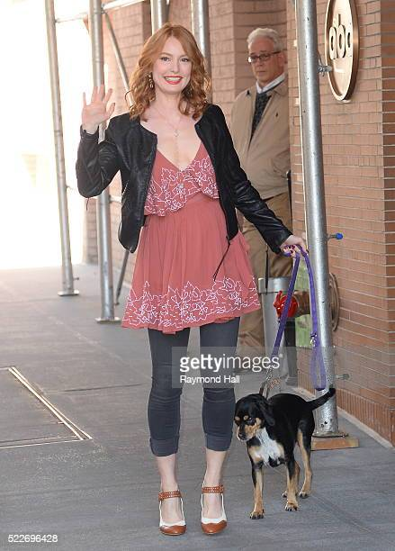 Actress Alicia Witt leaving 'The View' with her dog on April 20 2016 in New York City