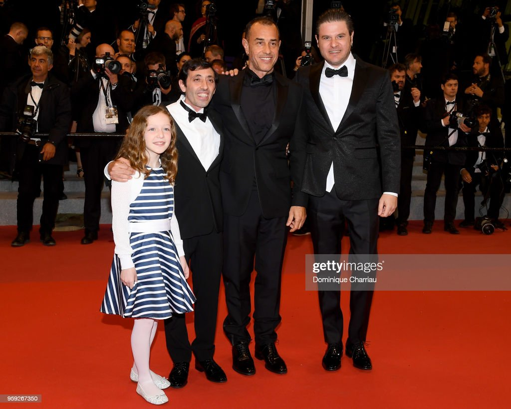 Actress Alida Baldari Calabria, actor Marcello Fonte, director Matteo Garrone and actor Edoardo Pesce attend the screening of 'Dogman' during the 71st annual Cannes Film Festival at Palais des Festivals on May 16, 2018 in Cannes, France.