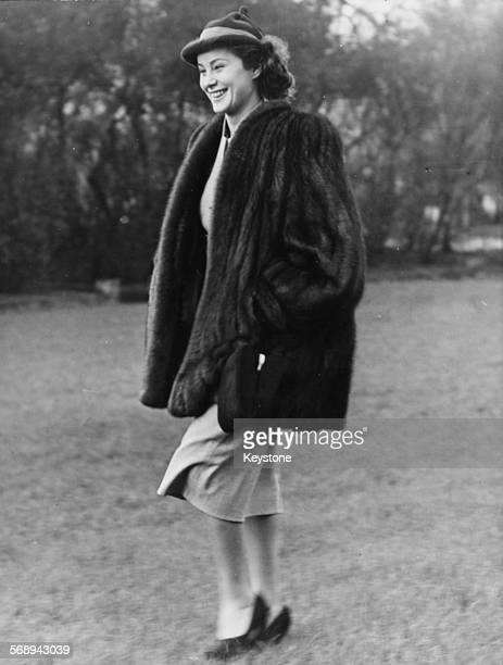 Actress Alida Valli wearing a fur coat and hat in a park prior to starting work on the film 'The Third Man' in London December 30th 1948