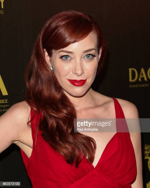 Actress Alie Ward attends the press room at the 45th Annual Daytime Creative Arts Emmy Awards at the Pasadena Civic Auditorium on April 27 2018 in...