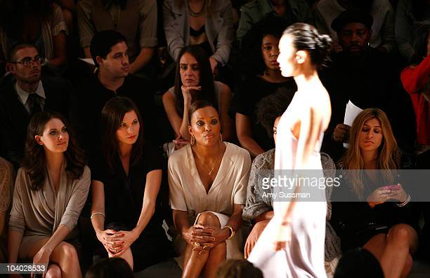 Actress Alison Brie actress Jill Flint actress Aisha Tyler and singer Solange Knowles attends the Max Azria Spring 2011 fashion show during...